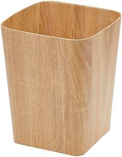 mDesign Papelera pequeña – Cubos de basura de reciclaje para el baño, la oficina y la cocina con espacio suficiente para la basura – Papelera cuadrada y decorativa de cartón resistente – color natural