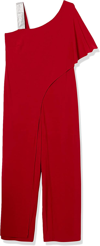 R&M Richards Women's Plus Size Womans One Shoulder Rhinestone Jumsuit