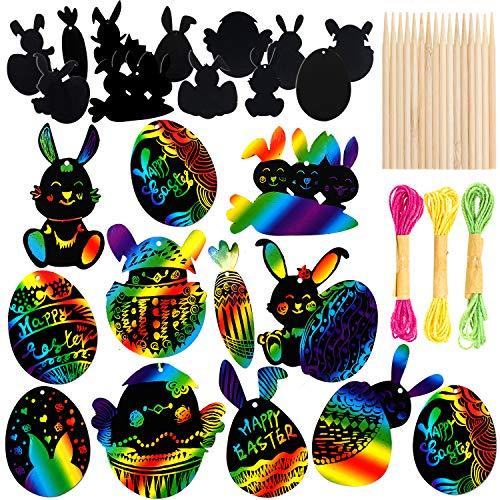 Whaline 54-teiliges Oster-Kratz-Papier-Set, magische Farbe, Rubbelkunst, Regenbogenfarben, Ostertag, Eierhase, Küken mit Löchern, 54 Holzstiften und 3 Farbseilen für Kinder, Kirche Klassenzimmer