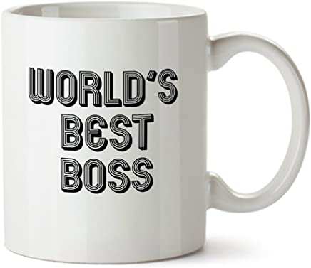 World's Best Boss - Promotion Guaranteed :) - Funny Design White Coffee Mug - Ceramic - Tea Cup - 11 oz - Great Office Gift