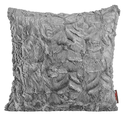 Magma Kissen Fluffy Plüsch Felloptik ca. 45x45 cm vers. Farben - weiches Kuschelkissen (mittelgrau)