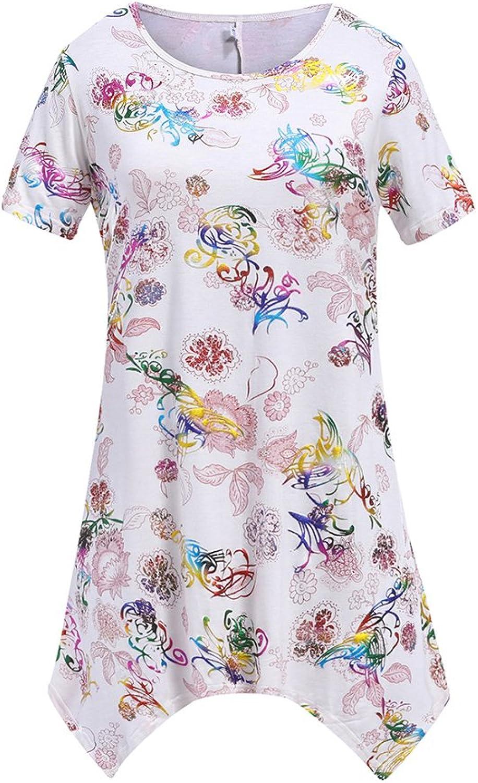 LIVFME Womens Floral Print Tunic Tops Short Sleeve Loose Fit Irregular Hem Blouse T Shirt