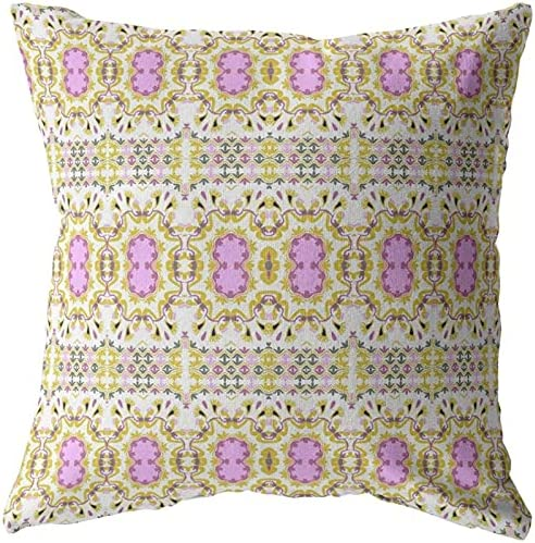 Amrita Sen Designs Geo Columbus Mall Flowers Broadcloth Zippered Pillow Cheap mail order shopping Yellow