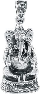 Lord Ganesha 925 Sterling Silver Pendant Plain Design Jewelry 1 1/2
