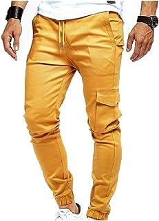 RkBaoye Mens Waist Tie Beam Foot Casual Pockets Pure Running Jogger Bottom Pants