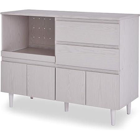 LOWYA ロウヤ 食器棚 レンジ台 スライド棚 リバーシブル キッチンラック 幅120 ホワイトウォッシュ