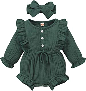 Best Newborn Baby Girl Clothes Jumpsuit Cotton Linen Solid Romper Ruffle Sleeve One-Piece Bodysuit Infant Clothes Outfits Review