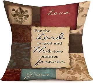 Smilyard Quote Pillow Covers Vintage Plaid Cotton Linen Decorative Pillow Case Cushion Cover 18x18 Inch Decor Indoor Outdoor Sofa (VQP 05)