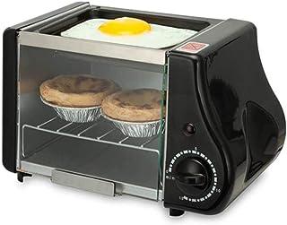 Mini horno eléctrico multifunción para hornear, asar, horno frito, para desayuno, tortilla, huevos, sartén, pan, tostadora, color negro