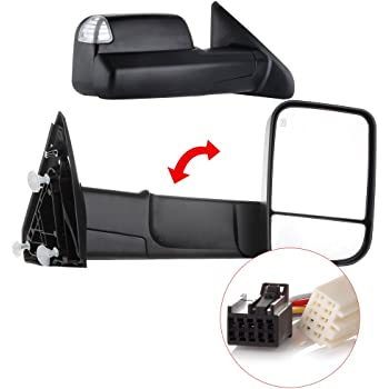 OCPTY Towing Mirrors Power Heated Left Driver Right Passenger Side Tow Mirrors Fit for 2009-2010 Dodge Ram 1500 2011-2019 Ram 1500 2500 3500 with Turn Signal Puddle Light with Black Housing