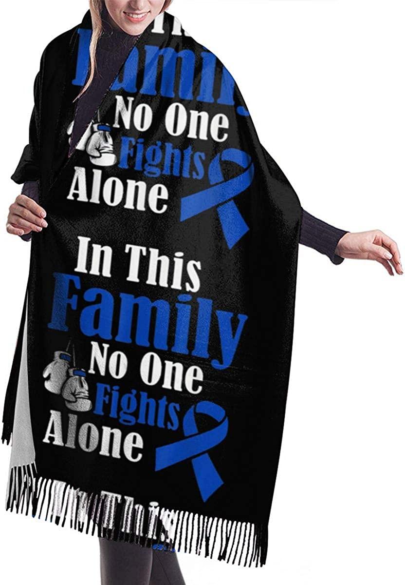 In This Family No One Fights Alone Colon Cancer Winter Scarf Cashmere Scarves Stylish Shawl Wraps Blanket