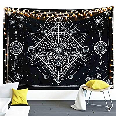 FLY SPRAY Moon Phase Tarot Tapestry Wall Hanging,Black and White Stars Mystic Tapestry(60×80 inch)