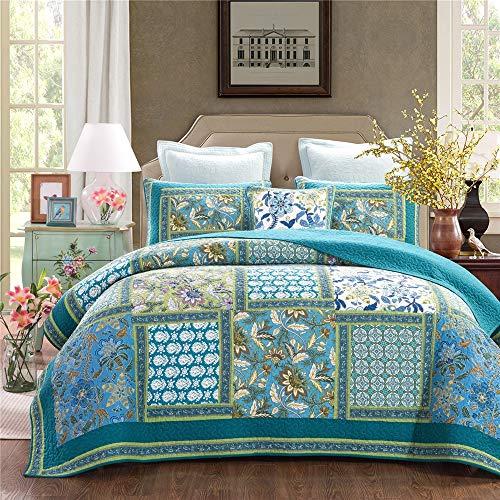 ADGAI 3 stuks gewatteerde patchwork sprei blauw rustiek retro bloemenpatroon omkeerbaar katoen patchwork quilt bed werpt deken met kussenslopen