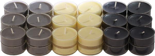 CandleNScent Scented Candles Tea Lights – Black - Beige - Grey - Pack of 36