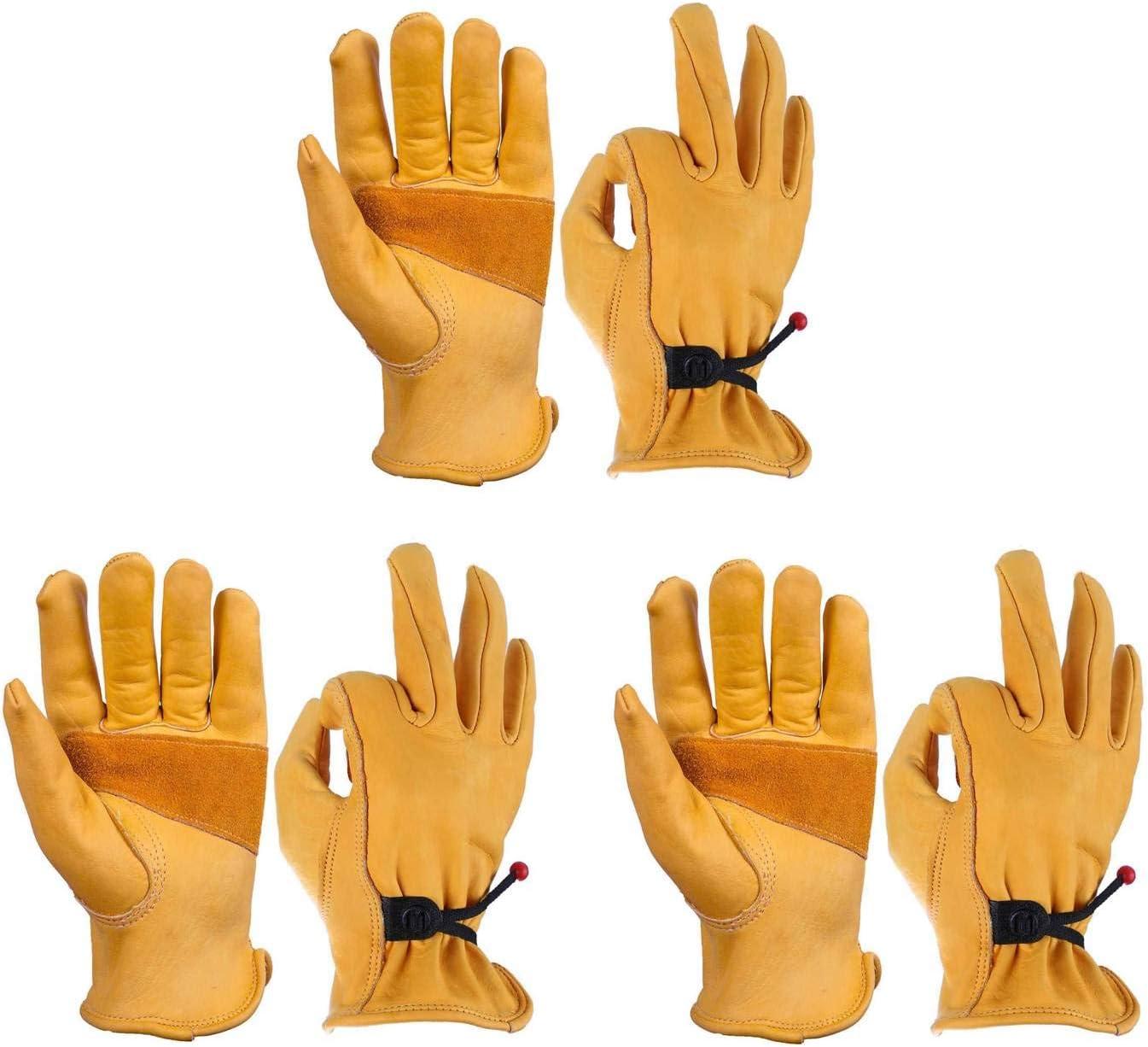 OZERO 3 Pairs NEW Flex Grip Leather Wrist Gloves Adjustable Work Tou free shipping