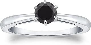 Diamond Wish 14k Gold Round Black Diamond Solitaire Ring (1/2cttw) 6-Prong, Size 4-9