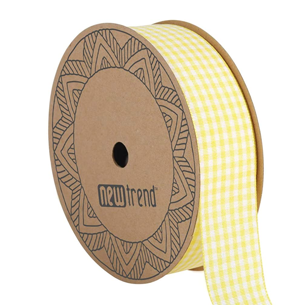 NewTrend Gingham Ribbon 25 Yard Each Roll 100% Polyester Woven Edge (1-Inch, Yellow)