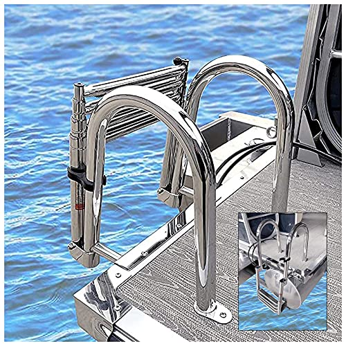 Escalera Barco 4 Pasos Escalera del Barco del Pontón, Tarea Pesada Telescópico Nadar Muelle Escalera Plegable Yate Marino Escalera, con Correa De Retención, 550 Libras De Carga