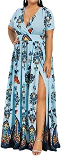 FSSE Women Split Floral Print Short Sleeve Belted Summer Beach Evening Party Maxi Dress