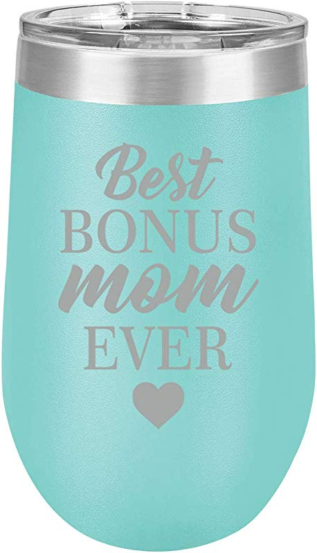 16 Oz Double Wall Vacuum Insulated Stainless Steel Stemless Wine Tumbler Glass Coffee Travel Mug With Lid Best Bonus Mom Ever Step Mom Mother Teal