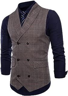 Mens Slim Fit Double Breasted Tweed Waistcoat Vintage Gentleman British Suit Vest