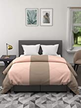 Clasiko Reversible Double Bed King Size Comforter/Duvet for Winters; Color - Taupe & Peach Stripes; Fabric - Micro Cotton;...