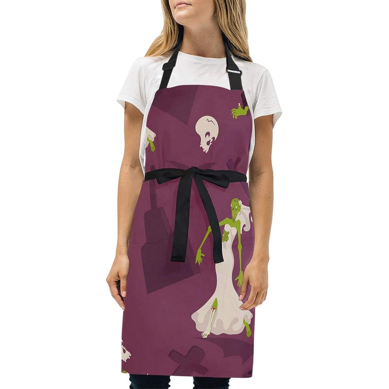 ハック外出黒くするオタク 男女通用エプロンハロウィン模様、ベルト調整可能、ダブルポケット付き、キッチン、カフェ、保育園作業着