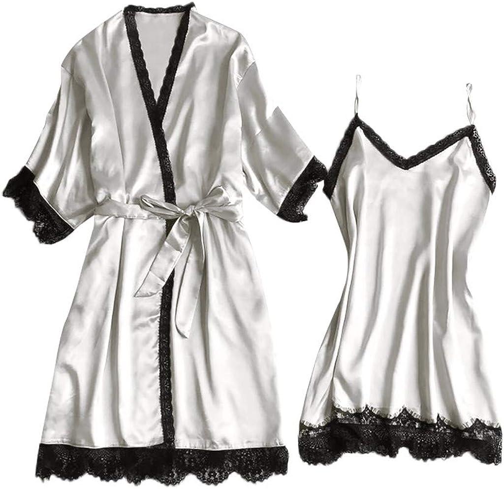 Women's Sleepwear Sets for Women Lace Nightgown V-Collar Satin S