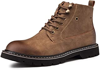 Happy-L Shoes, Classic Ankle Boots for Men Work Anti-Skid Boot Lace up Microfiber Leather Low Heel Round Toe Side Zipper Stitching Burnished Style Lug Sole