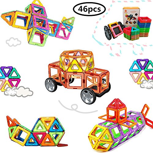 Bloques de construcción de Bloques magnéticos de 64 Piezas Juegos educativos...