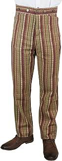 Men's High Waist Bailey Cotton Striped Dress Trousers