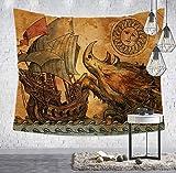 DJSK Loartee Retro Sea Monster Warship Caricature Tapestry Bohemian Home Decoración de Pared Tela de Pared Sala de Estar Fondo Alfombra Playa Toalla Decoración decoración de Dormitorio 150 * 230cm