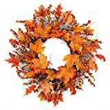 Romote Halloween Autumn Wreath Fall Maple Leaf Berries Garland Front Door Decorations for Thanksgiving Day Outdoor Christmas Decorations Indoor