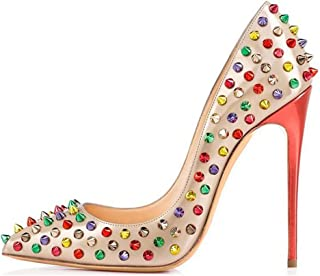 Women`s Fashion Pointed Toe High Heels Pumps Rivet Studded Stiletto Sandals for Wedding Party Dress