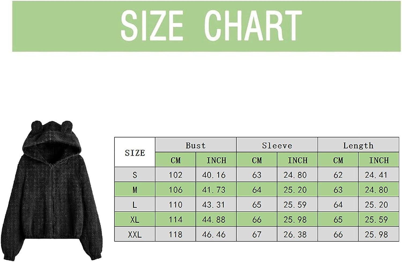 Cute Teddy Bear Hoodie Coat for Womens Teen Girls Long Sleeve Fleece Sweatshirt Bear Shape Fuzzy Hoodie Zip Sweater Pullover