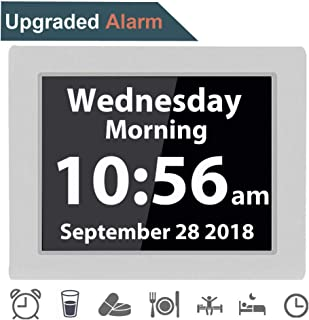 [12 Alarms] Digital Day Alarm Clock Electronic Calendar Large Clocks Reminder for Memory Loss Elderly Seniors Dementia Sufferers Alzheimers Products Wall Vision Impaired Patients Kids Room (8'' White)