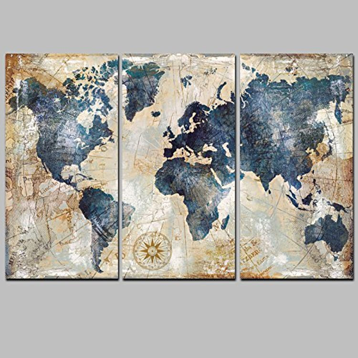 W15Y8 Watercolor World Map Modular Painting Posters And Prints On Canvas Scandinavian Cuadros Wall Art Picture For Living Room40X80Cm No Frame