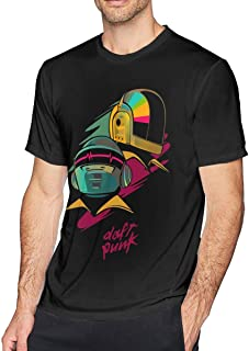 Guangou Mens Particular Daft Punk Tees Black