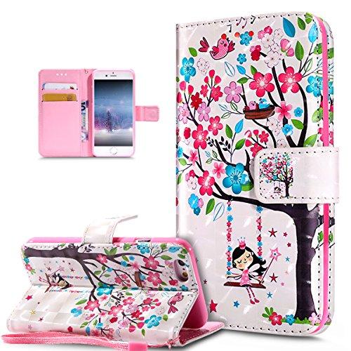 ikasus Coque iphone 6S/6 Etui,Modèle de papillon peint en 3D coloré Housse Cuir PU Housse Etui Coque Portefeuille supporter Flip Case Etui Housse Coque pour iphone 6S/6,Oiseaux d'arbre fleur rose