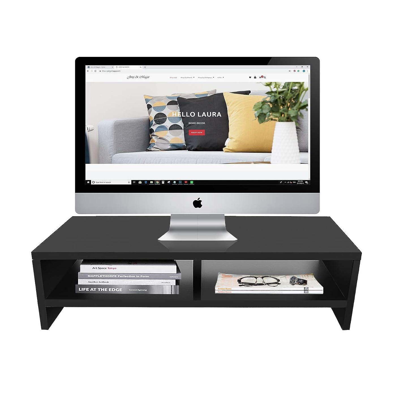Jerry & Maggie – 木质显示器支架 – 2 部分组合 – 现代梳妆架单元存储台收纳柜电脑架– 1 部分多功能部件