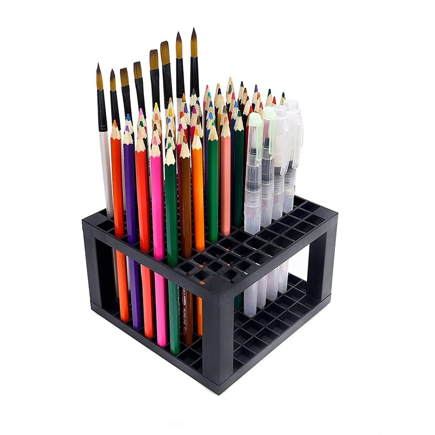 Ationgle 96 Hole Brush Holder, Plastic Brush Rack Perfect for Paint Brushes, Pencils, Pens, Markers, Holder Desk Stand Organizer, Office Supplies (Single)