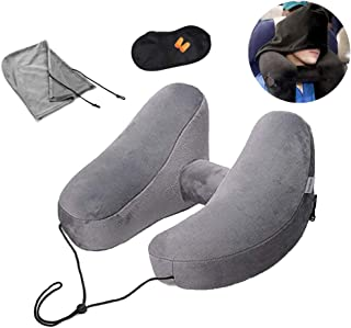 Inflatable Travel Pillow Inflating Neck Pillow Travel with Sleep Mask + Earplugs Ergonomic Neck Support Pillow Soft Velvet Washable Cover 3 Seconds Inflate Full for Airplane Train Car Office Rest Grey