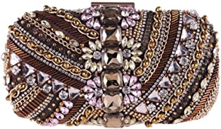 Perfect Home Women's Beaded Crystal Rhinestone Hard Shell Banquet Clutch Europe and America Dress Evening Bag Chain Black/Brown Size: 19 * 5 * 8cm (Color : Brown)