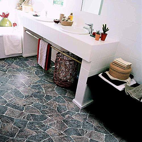 livingfloor® PVC Bodenbelag Bruchstein Granit Grau 2m Breite, Länge variabel Meterware, Größe:2.00x2.00 m