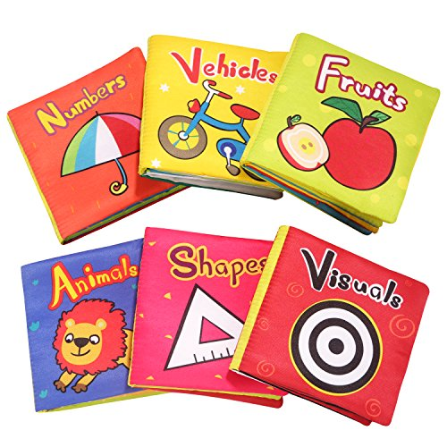 TOP Bright Soft Cloth Books for Babies First Year, Baby Toys 6 to 12 Months Girls and Boys, Crinkle Books for Infants Educational Toy(Pack of 6)