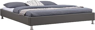IDIMEX Lit futon Double pour Adulte Nizza avec sommier King Size 180 x 200 cm Couchage 2 Places / 2 Personnes, Pieds en métal chromé, revêtement synthétique Gris
