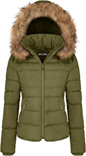 BodiLove Women's Winter Quilted Puffer Short Coat Jacket with Removable Faux Fur Hood and Zipper