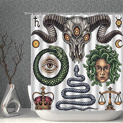 NJMRZX Halloween Decor Duschvorhang Bullenschädel Schlange Monster Skala Krone Stoff Badezimmer Gardinen 183 x 183 cm wasserdicht Polyester mit Haken