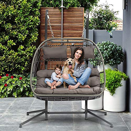 HLJ Double Person Patio Hanging Chair Outdoor Wicker Swing Hammock Swing Egg Chair with Seat UV Resistant Soft Cushions Stand for Backyard Balcony with Hanging Pumpkin Loveseat Chair