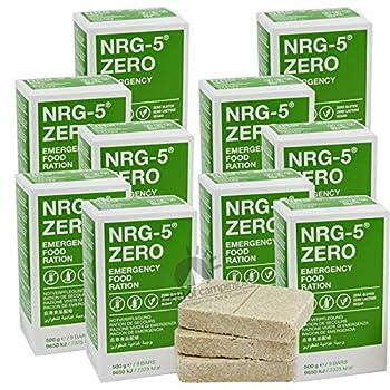 10 x NRG-5 ZERO - Sans gluten - 500 g - Pour les soins d'urgence - Barres de 10 x 9 - Équipement de base comme EPA